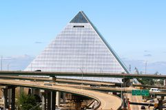 The Pyramid, Downtown Memphis Tennessee. One of the most recognizable structures in the Memphis area, the Pyramid was built  to be an entertainment mecca Stock Images