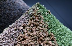 Pyramid of dried vegetables exposed for EXPO Milan 2015 in Milan Triennale Museum Royalty Free Stock Images