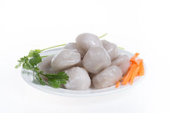 Pyramid dumplings in white plate (Taiwanese food ) Royalty Free Stock Photo