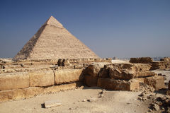 The Pyramid in Egypt. The great ancient Pyramid of Chephren in Giza, near Cairo (Egypt Royalty Free Stock Photography