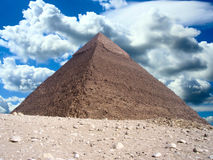 Pyramid in Egypt. And sky with clouds Stock Images
