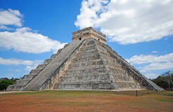Pyramid El Castillo, Chichen Itza, Mexico. Also known as the Temple of Kukulcan, is a Mesoamerican step-pyramid that dominates the center of the Chichen Itza Royalty Free Stock Photography