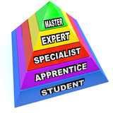 Pyramid of Expert Mastery Skills Rise from Student to Master. A pyramid illustrating the steps of learning a skilled trade, rising from student to apprentice to Stock Photography