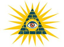 Pyramid with eye. Vector vintage illustration of a pyramid with eye. Pyramid with eye on vintage style royalty free illustration
