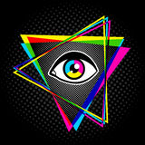 Pyramid and eye. Vintage pyramid with eye in 90`s style. Vintage poster with pyramid and eye vector illustration