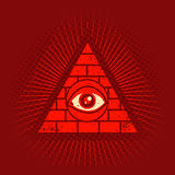 Pyramid and eye. Vintage vector poster with pyramid and eye Royalty Free Stock Photography