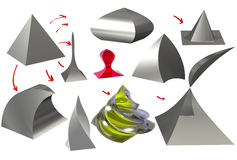 Pyramid and figures obtained from it 3D. Grey, with highlights of the pyramid, and various figures derived from the pyramid by using different operations, there Royalty Free Stock Photography