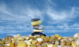 Pyramid with five stones Stock Photo