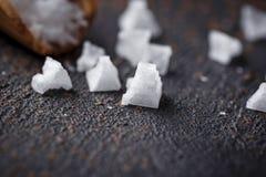 Pyramid flakes of sea salt. stock image