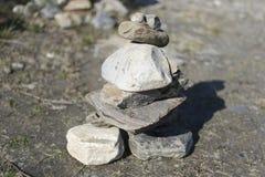 A pyramid of flat stones Stock Photo