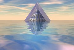 Pyramid floating on sea Stock Photo