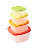 Pyramid of food containers isolated Stock Images