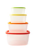 Pyramid of food containers isolated Royalty Free Stock Images