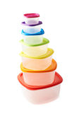 Pyramid of food containers isolated Royalty Free Stock Photo