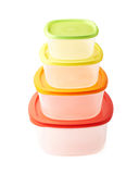 Pyramid of food containers  Royalty Free Stock Image