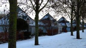 Pyramid-formade hus som täckas i snö under vinter Royaltyfri Fotografi
