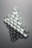 Pyramid Formed by Ice Cubes. With Reflection Stock Photography