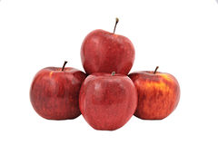 Pyramid of four red apples isolated on white background Stock Images