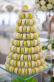 Pyramid of french colorful macaroons. Elegant sweet table with macaroons on wedding Stock Photo