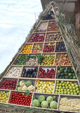 A pyramid of fruits and vegetables. This is the pyramid of a healthy life stock images