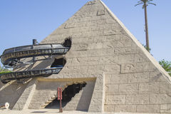 The pyramid. Funny water slide that winds its way in and out of a pyramid on its way down. The pyramid is located in Cleo water park in Egypt Royalty Free Stock Photography