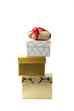 Pyramid of gifts boxes Stock Photo
