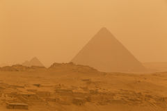 Pyramid in Giza at sandy storm. View on Menkaure pyramid in Giza at sandy storm Stock Image