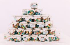 Pyramid of glass jars stock photo