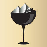 Pyramid on glass. Wine glass design pyramid icon Stock Images