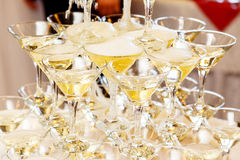 Pyramid of glasses with champagne close up Royalty Free Stock Image