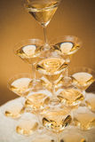 Pyramid of glasses of champagne Stock Image