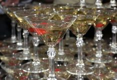 Pyramid of glasses filled with sparkling wine. stock photo