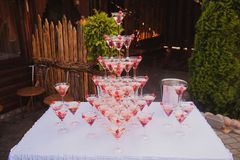 Pyramid of glasses wine, champagne Royalty Free Stock Photography