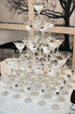 Pyramid of glasses. stock photography