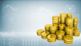 Pyramid from gold coins Stock Photo