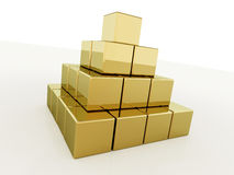 Pyramid with gold cubes  Stock Images