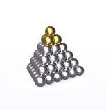 Pyramid with gold and silver balls. Isolated metallic golden pyramid on top of the larger silver one. Mountain of metal balls are tightly packed with reflective vector illustration