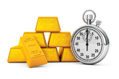 Pyramid from Golden Bars with Stopwatch. 3d Rendering Royalty Free Stock Photography