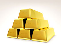 Pyramid from Golden Bars on white background. 3d Image Stock Photos