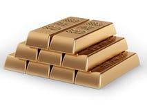 Pyramid of golden bullions Royalty Free Stock Photography