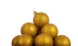 Pyramid of golden Christmas balls Royalty Free Stock Photography