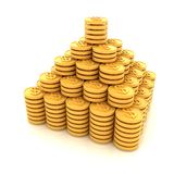 Pyramid from the golden coins. 3d illustration. On a white vector illustration