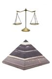 Pyramid and golden scale Stock Photo