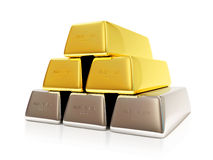 Pyramid from Golden and Silver Bars. On white background. 3d Image Royalty Free Stock Images