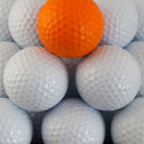 Pyramid of golf balls Stock Photo