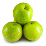 Pyramid from green apples Stock Photo