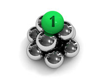Pyramid. Green ball on the top. Stock Photo