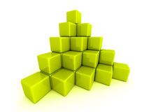 Pyramid of green cube blocks Royalty Free Stock Image