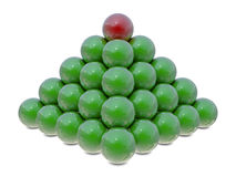 Pyramid from green and red balls Royalty Free Stock Images