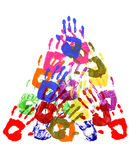 Pyramid of handprints Stock Photo